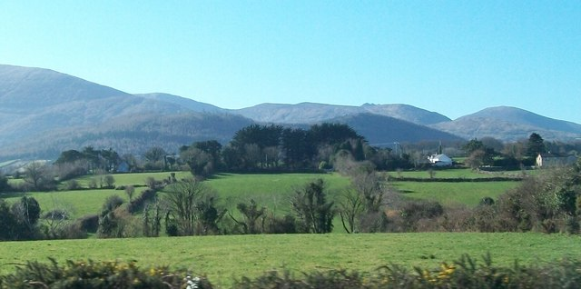 Farmland in the Burren Valley with the High Mournes in the background