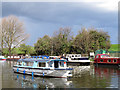 TQ3487 : Canal boat on the Lea Navigation by Stephen Craven