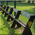 TQ3377 : The Bench, Southwark Rugby Club, Burgess Park Sportsground by Robin Stott