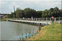 TQ3377 : New footbridge across remodelled lake, Burgess Park by Robin Stott