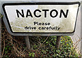 TM2139 : Nacton Village Name sign on Ipswich Road by Adrian Cable