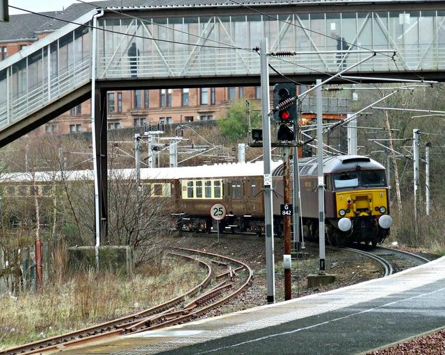 The Winter West Highland Statesman passing Rutherglen railway station