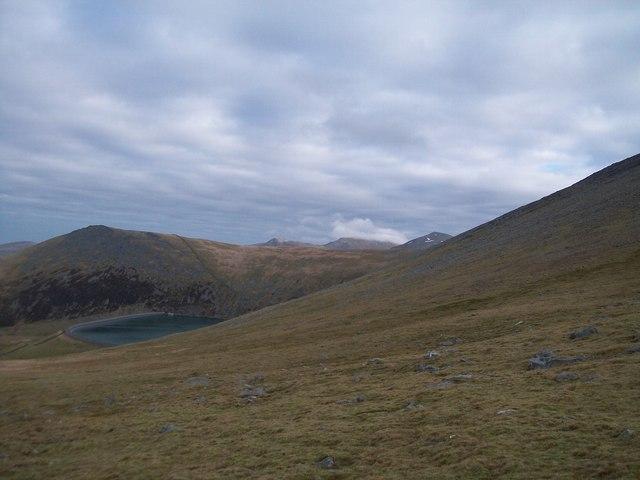 Marchlyn Mawr Reservoir from the lower slopes of Elidir Fawr