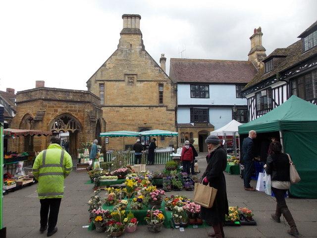 Sherborne: market stalls in the marketplace
