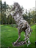 NZ1265 : Rearing Stallion driftwood sculpture, Close House Golf Course by Andrew Curtis