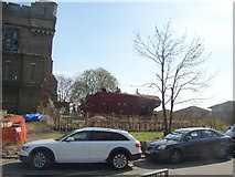 TQ3286 : View of the climbing wall in front of the Castle Climbing Centre from the centre car park by Robert Lamb