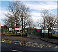 ST2788 : Tree-lined school entrance gates, Rogerstone, Newport by Jaggery