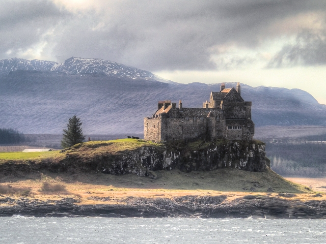 Duart Point, Castle and the Mountains of Mull