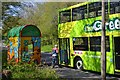 SP0568 : Boarding the Green Bus, Church Hill Way, Church Hill, Redditch by Robin Stott