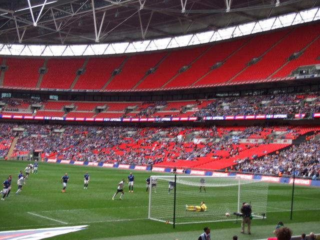 The Posh at Wembley - Britt Assombalonga scores a penalty