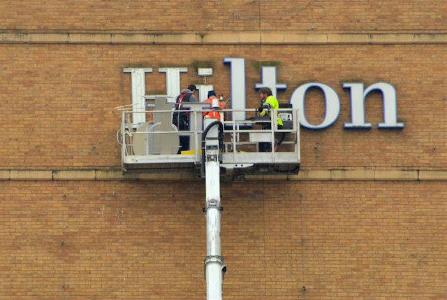 Sign maintenance, Hilton Hotel, Belfast