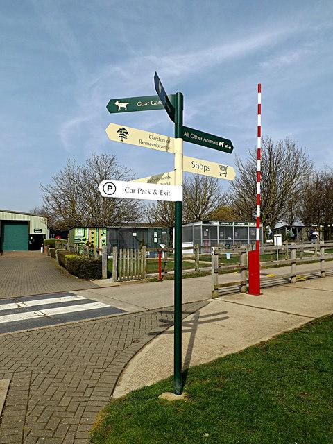 Signpost at Wood Green Animal Shelter