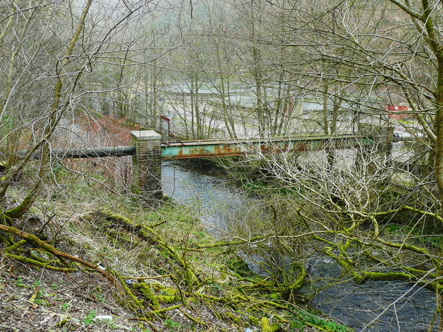 Sewer pipe bridge over the River Ryburn