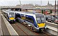 C9525 : Crossing trains, Ballymoney (April 2014) by Albert Bridge