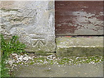 SK7645 : Bench mark, St. Peter's Church, Sibthorpe by Alan Murray-Rust