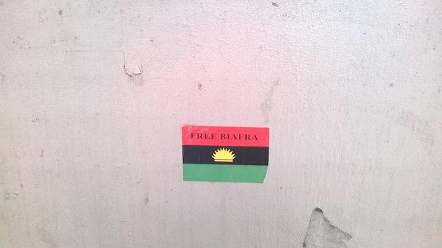 "Half a Yellow Sun: ""Free Biafra"" sticker on communications junction box near East Croydon station"