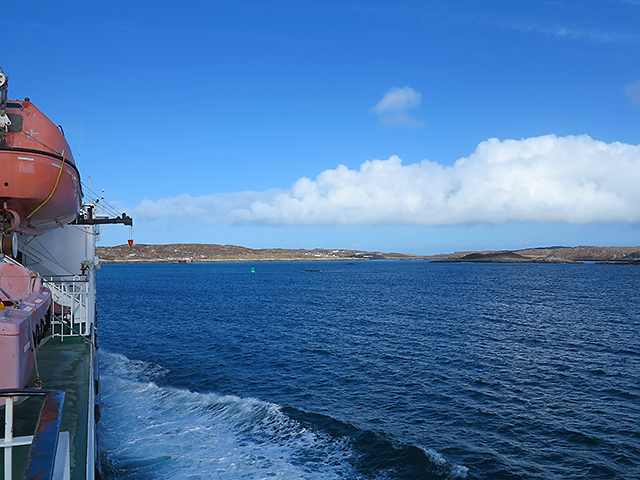 View from Calmac ferry Clansman approaching Coll