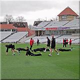 SK5838 : Trent Bridge: pre-match warm-up by John Sutton