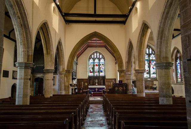 Interior, St Thomas à Becket church, Cliffe, Lewes