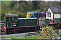 SJ9851 : Preserved diesel locomotives by Cheddleton signal box by David Martin