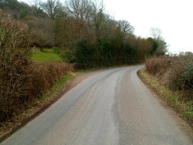 Bend in Usk Road near Bridewell Wood