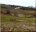 ST4393 : White house on Gray Hill near Llanvair Discoed by Jaggery