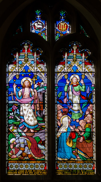 Stained glass window, St Thomas à Becket church, Cliffe, Lewes