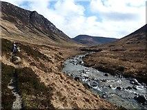 NR9148 : Abhainn Mòr flows over rocks in Glen Catacol by Rob Farrow
