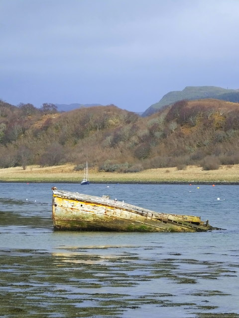 Decaying wreck in Loch Craignish