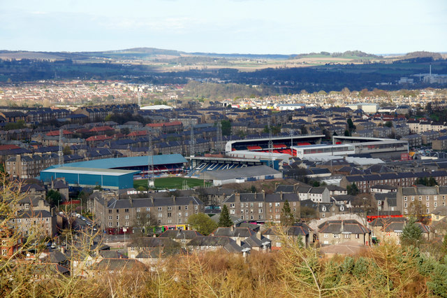 Dens Park and Tannadice Park from Dundee Law