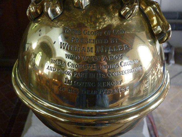 Dedicatory inscription on lectern, Orston church