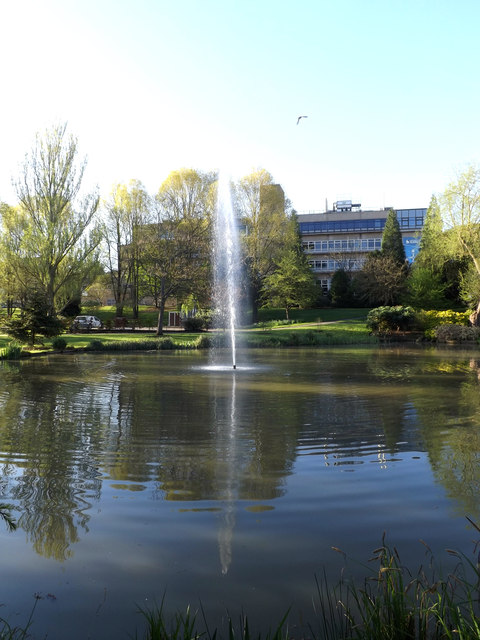 Fountain & Lake on Stag Hill Campus