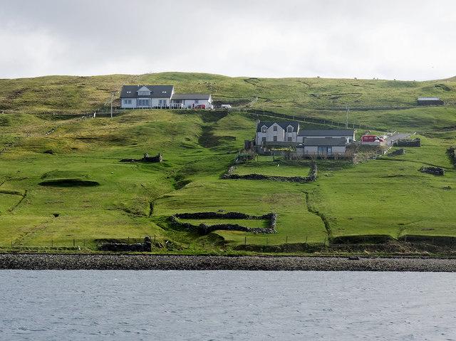 Fertile land and modern houses at Vidlin, Shetland
