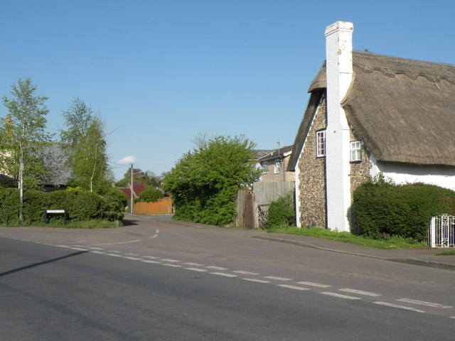 A view of Ludlow Lane from School Lane in Fulbourn