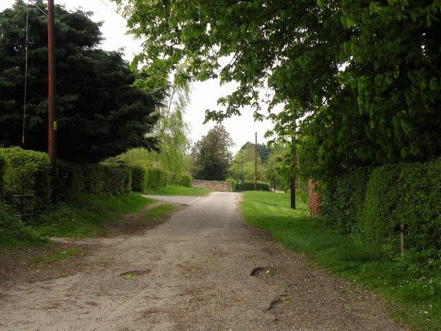 The approach road to Ashdon church
