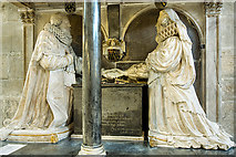 SP0202 : St John the Baptist's church, Cirencester: Monox monument (detail 1) by Mike Searle