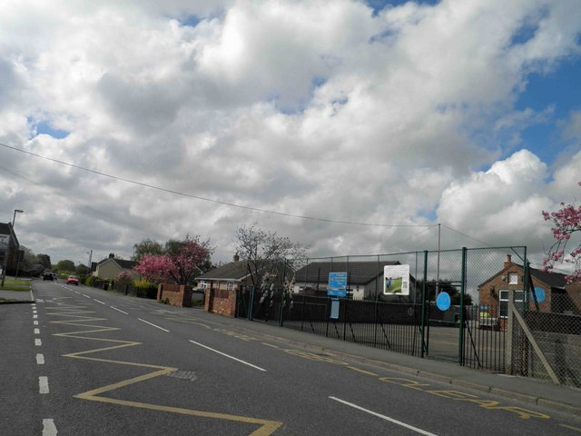Withern village school entrance alongside the A157