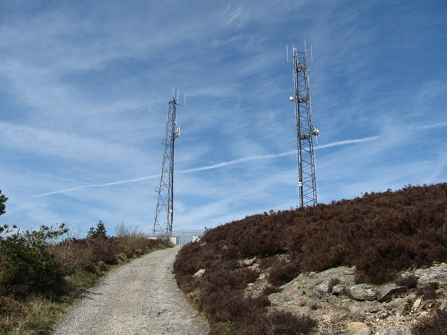 The service road approaching the Camlough Mountain Telecommunications Masts