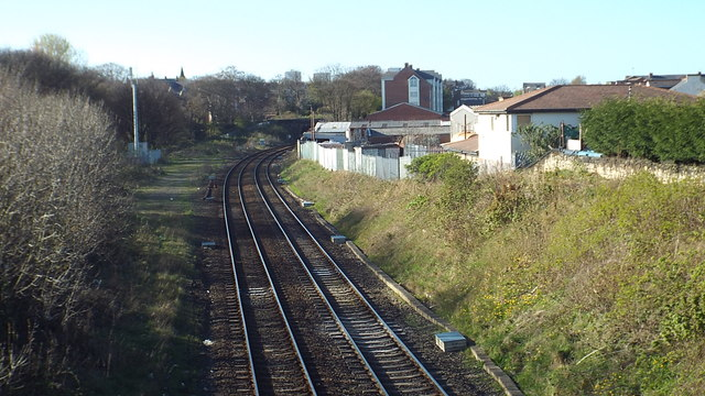 Railway tracks approaching Sunderland
