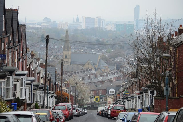 Sheffield City viewed from Hunter House Road