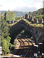 SH7877 : Conwy: the railway passes under the town wall by Chris Downer