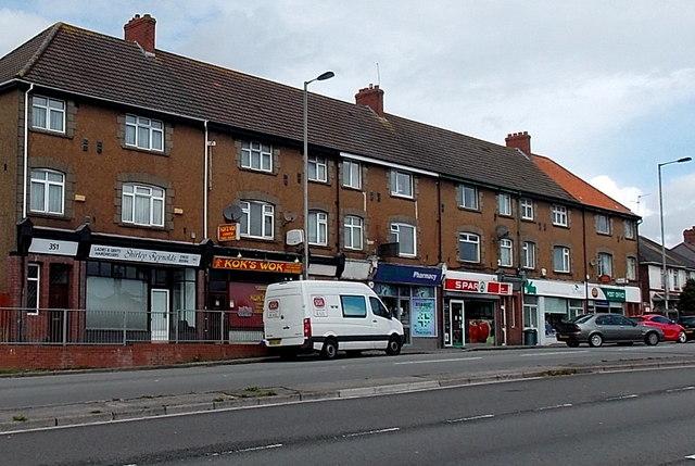 Row of shops, Malpas Road, Newport