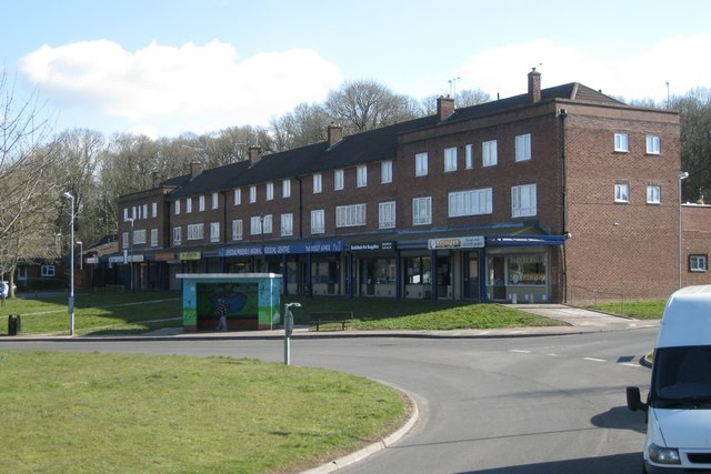 Shops, flats and bus stop, Poplar Road, Batchley, Redditch