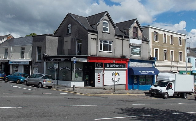 Two barber shops on a corner in Uplands, Swansea