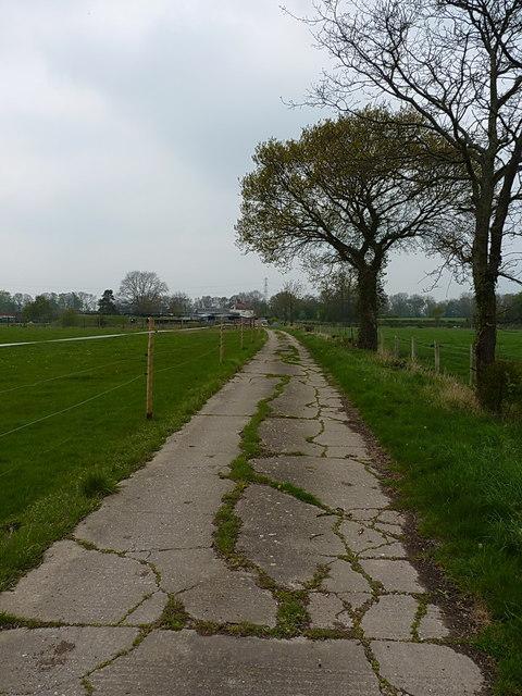 Cracked concrete farm track