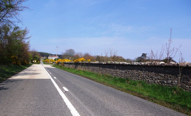 A dog-leg bend in the A957  to Banchory