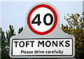 TM4294 : Toft Monks Village Name sign by Adrian Cable