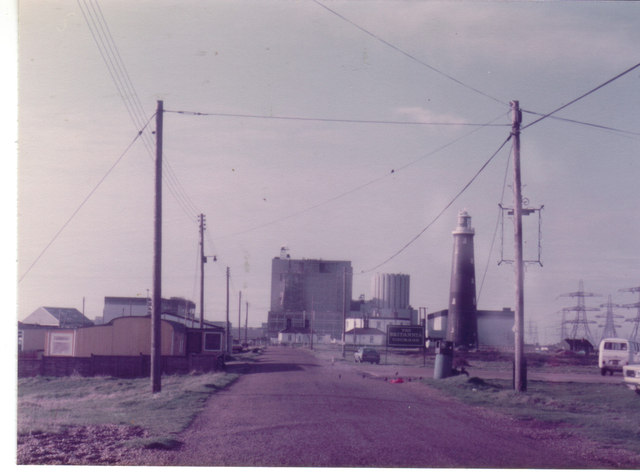 Dungeness power station and old lighthouse, 1982