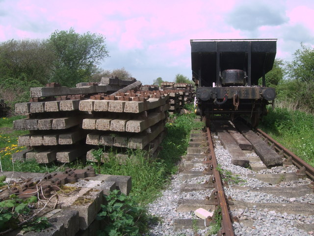 Disused sleepers and rolling stock near South Meadow Lane
