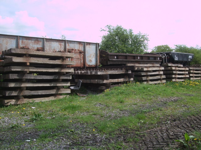Disused rolling stock and railway sleepers near South Meadow Lane